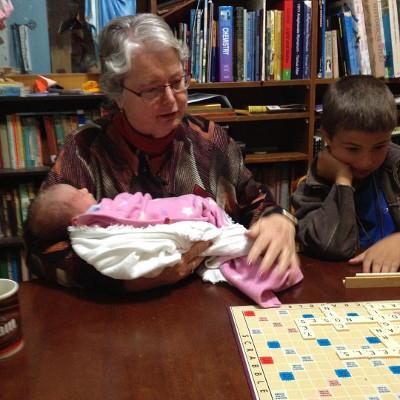Helping Nanna play Scrabble